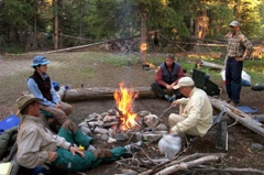 Around the evening fire on a Wind River Range pack trip.